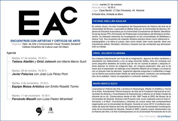 ENCUENTROS CON ARTISTAS Y CRÍTICOS DE ARTE. Martes 21 octubre. Tatiana Abellán y Oriol Jolonch  con Maria Marco.